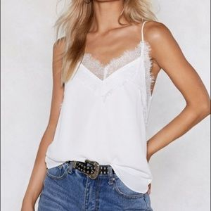 White Lace Trim Tank